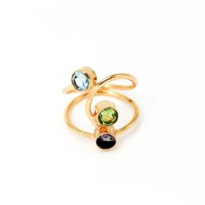 Vergoldeter Ring mit Amethyst und Blauem Topas