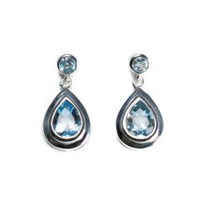 Ohrringe verziert mit Sky-Blue Topas