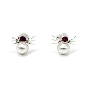 Ohrringe mit Kristallglas und Perlen