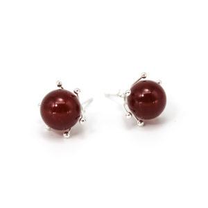 Ohrringe rund, verziert mit Halbedelstein-Perlen
