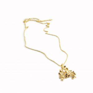 Vergoldete Halskette mit Edelsteine