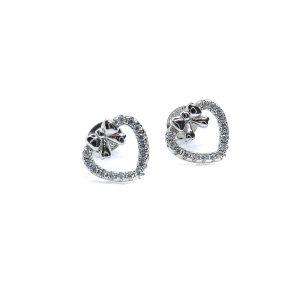 925 Sterling Silber Ohrringe mit Schleife und Herz, verziert mit CZ