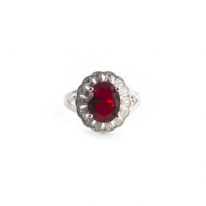 925 Sterling Silber Ring, verziert mit CZ und mit Rhodium überzogen