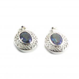 925 Sterling Silber Ohrringe, verziert mit blauen Topas