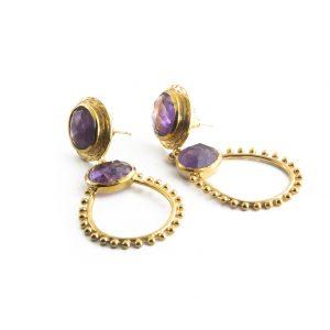 Vergoldete Handgefertigte Ohrringe mit Amethyst verziert
