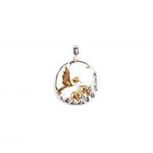 925 Sterling Silber Vogel und Herz Anhänger vergoldet