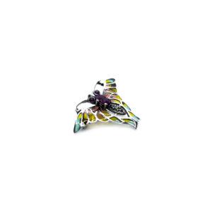 Schmetterlingsbrosche aus 925er Sterlingsilber, verziert mit farbigem Email und Edelsteinen sowie Markasit und Halbedelsteinen