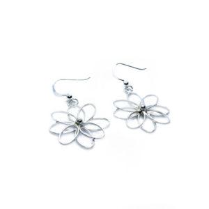 925 Sterling Silber Ohrringe mit Blumenhaken