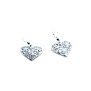 925 Sterling Silber Ohrringe mit Blume und Herz