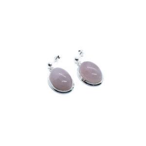925 Sterling Silber Ohrringe mit Rosenquarz verziert