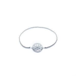925 Sterling Silber Ball und Blume des Lebens Stretch-Armband