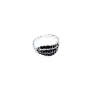 925er Sterlingsilber Ring mit Kristallglas verziert