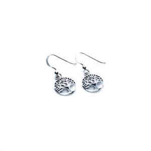 925 Sterling Silber Baum des Lebens Haken Ohrringe