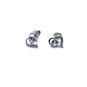 925 Sterling Silber Herz Push-Back Ohrringe