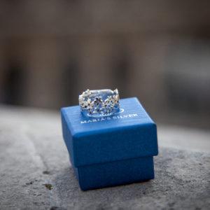 925 Sterling Silber Blumen Ring
