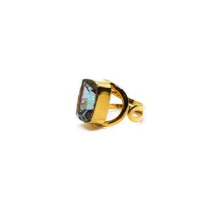 Vergoldeter Ring aus Sterling Silber mit Topaz verziert