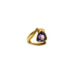 Vergoldeter Ring aus Sterling Silber mit Amethyst verziert