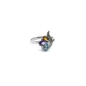 Ring aus rhodiniertem 925 Sterling Silber mit Citrin, Amethyst und himmelblauem Topas