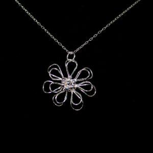 925 Sterling Silber Blume Halskette