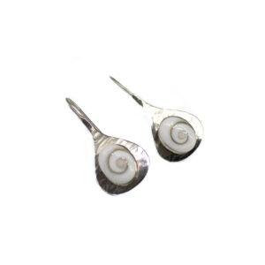 925 Sterling Silber Haken Ohrringe mit Shiva Shell verziert