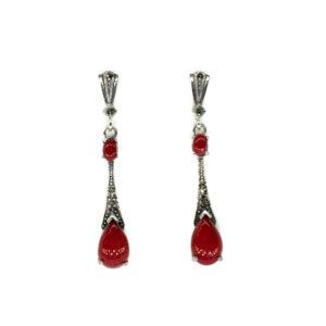 925er Ohrringen Sterlingsilber, verziert mit Türkis und Harz