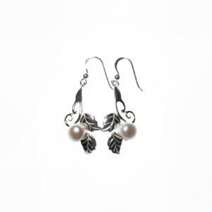 925 Sterling Silber Ohrringe mit Blatt mit Süßwasserperlen verziert