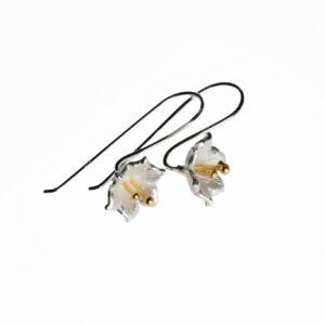 925 Sterling Silber Blume Ohrringe mit 18 Karat Gelbgold überzogen