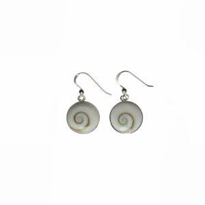 925 Sterling Silber Ohrringe mit Shiva Shell verziert