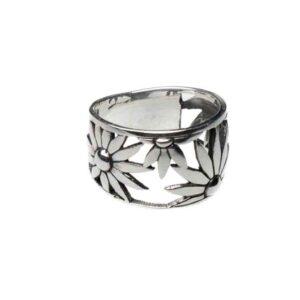 925 Sterling Silber Blumenring