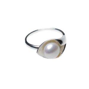 925 Sterling Silber Matt Ring mit Süßwasserperlen verziert
