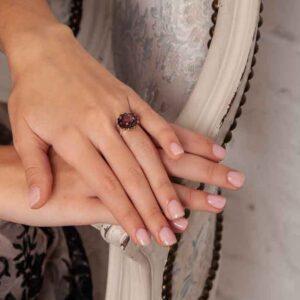 925er Sterling Silber Ring mit Granat