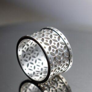 925er Sterling Silber Ring, mit reinem Silber und E-Coat überzogen