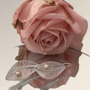 925 Sterling Silber Blatt Ohrringe mit Süßwasserperlen verziert