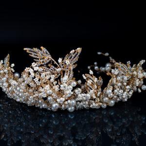 Braut Haarkrone mit Perlen